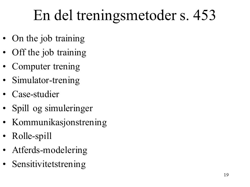En del treningsmetoder s. 453