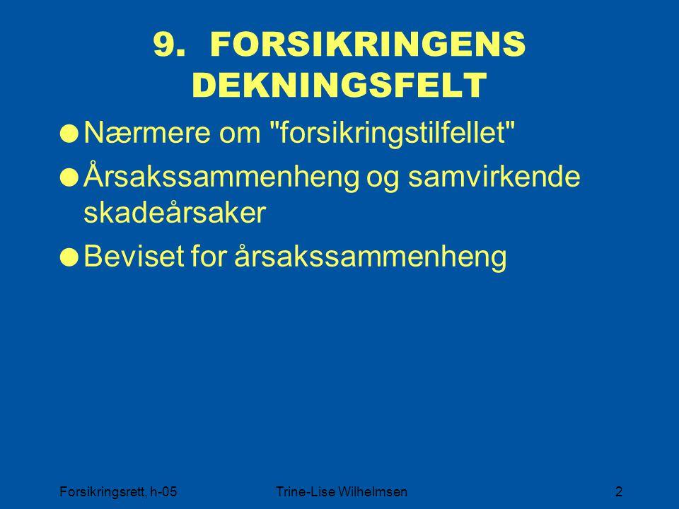 9. FORSIKRINGENS DEKNINGSFELT