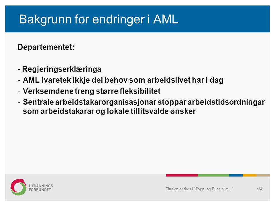 Bakgrunn for endringer i AML
