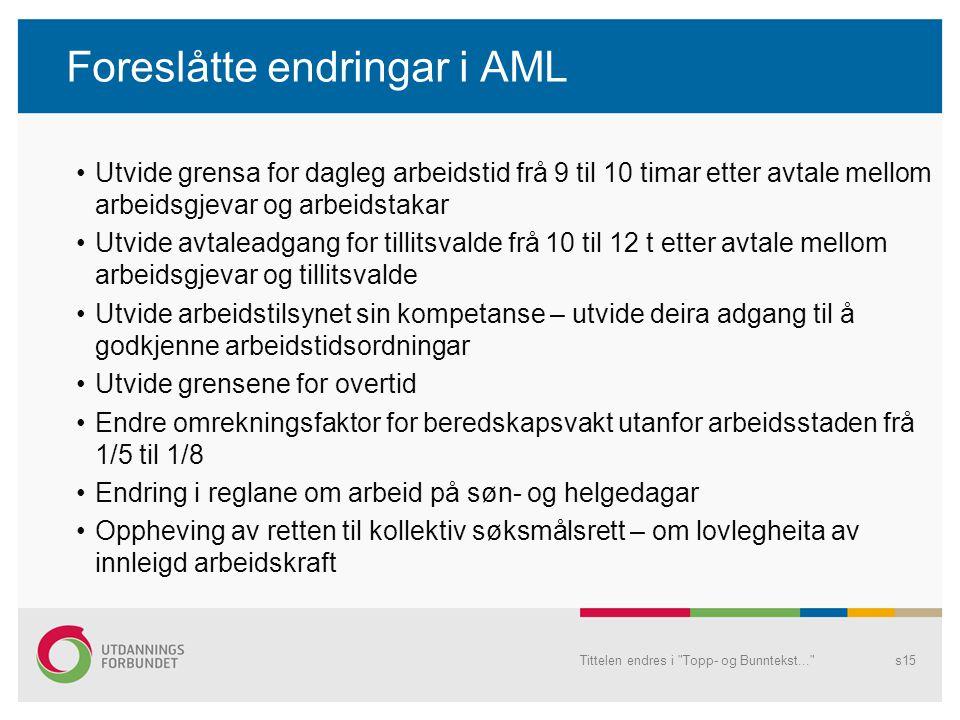 Foreslåtte endringar i AML
