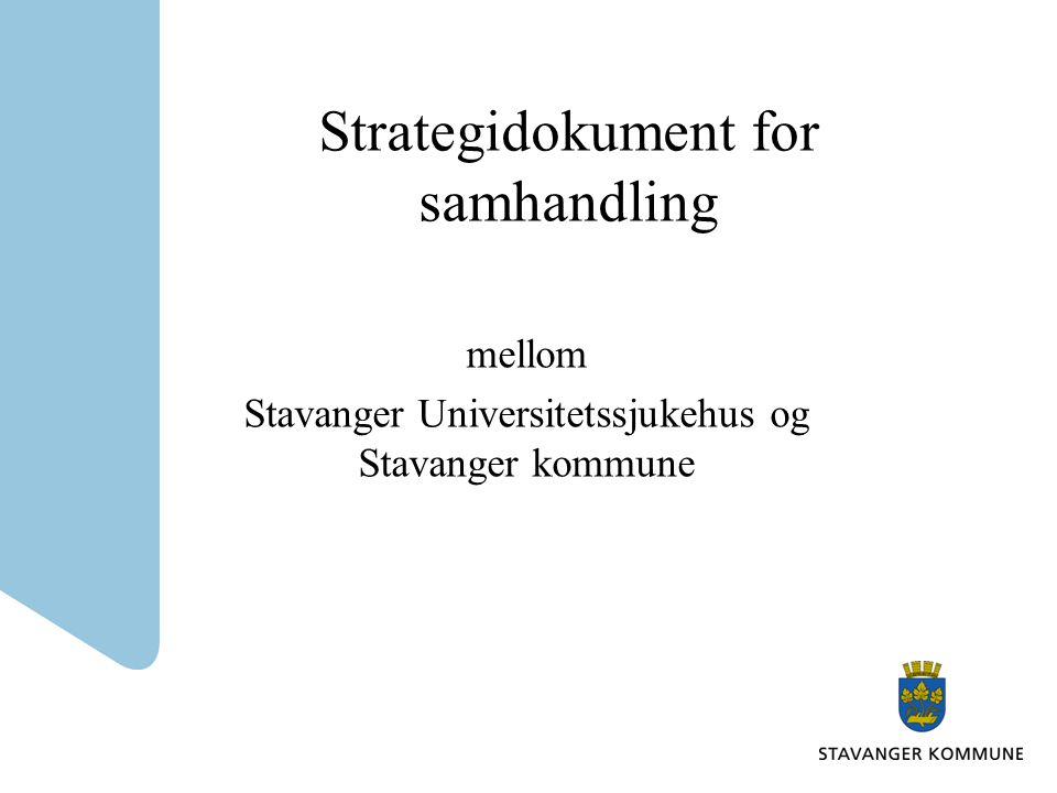 Strategidokument for samhandling
