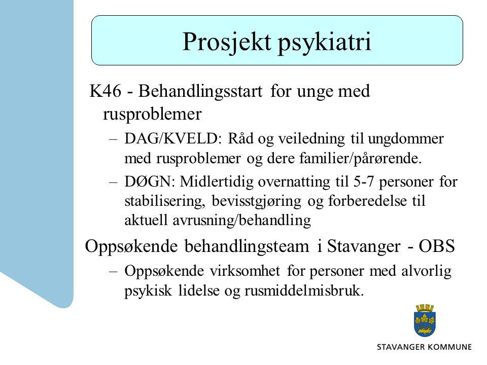 Prosjekt psykiatri K46 - Behandlingsstart for unge med rusproblemer