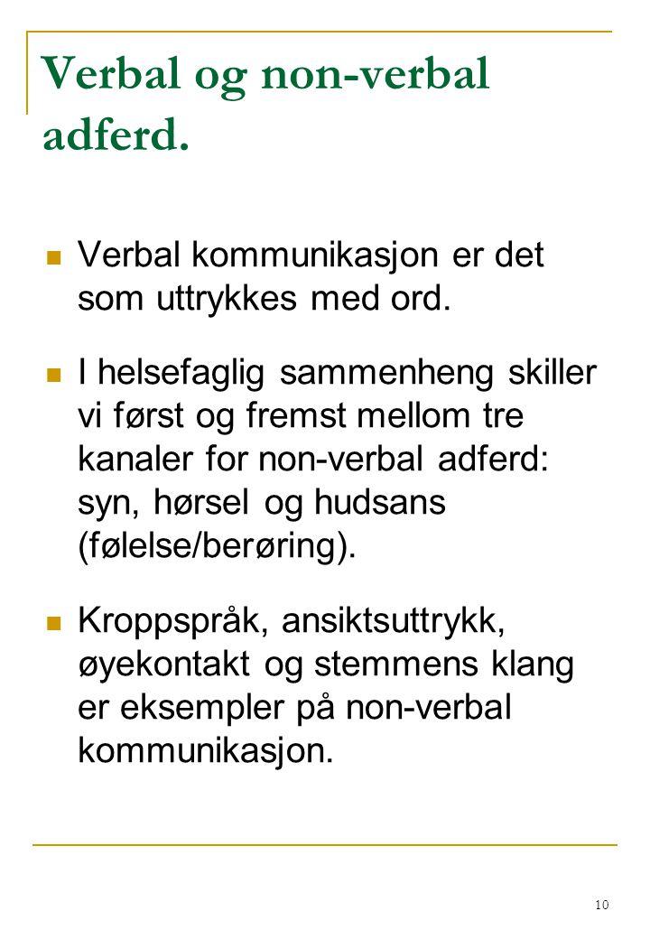 Verbal og non-verbal adferd.