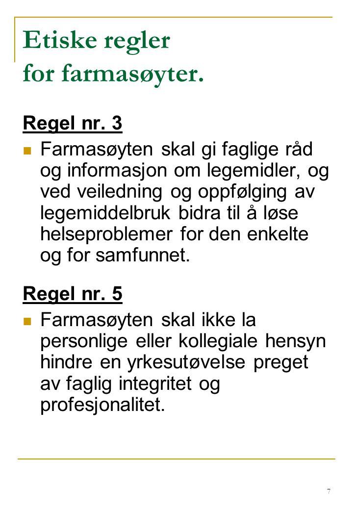 Etiske regler for farmasøyter.