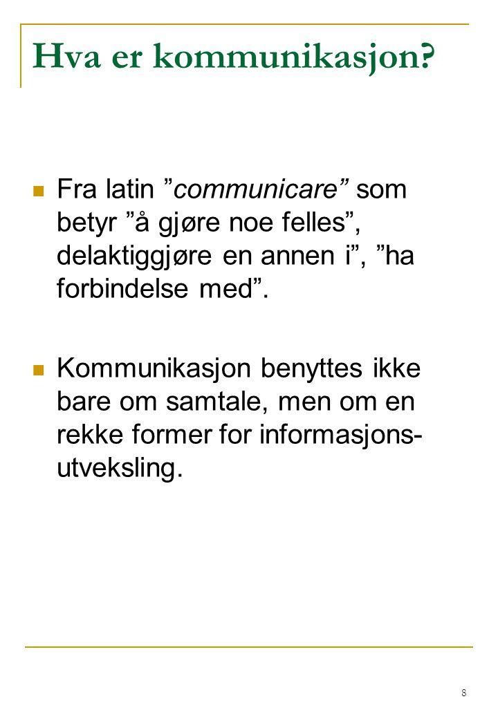 Hva er kommunikasjon Fra latin communicare som betyr å gjøre noe felles , delaktiggjøre en annen i , ha forbindelse med .