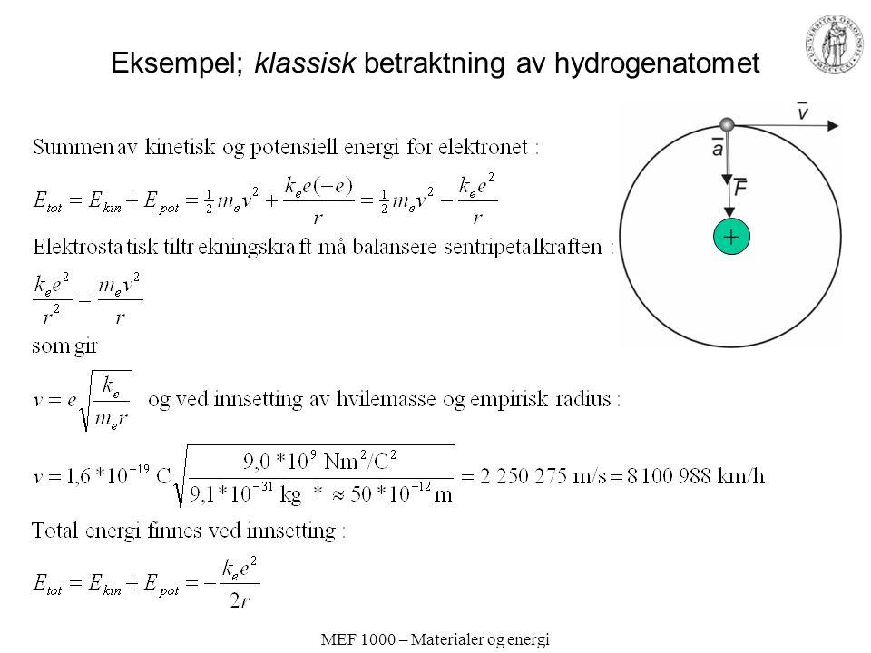 Eksempel; klassisk betraktning av hydrogenatomet