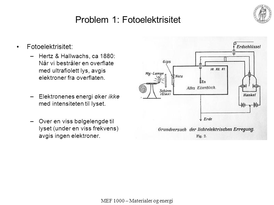 Problem 1: Fotoelektrisitet