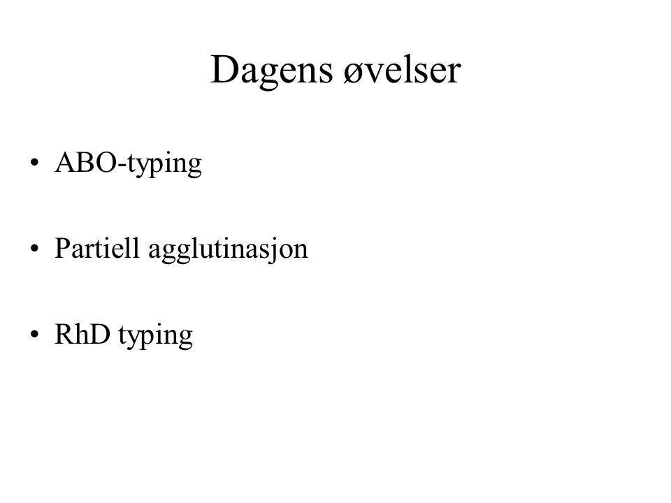 Dagens øvelser ABO-typing Partiell agglutinasjon RhD typing
