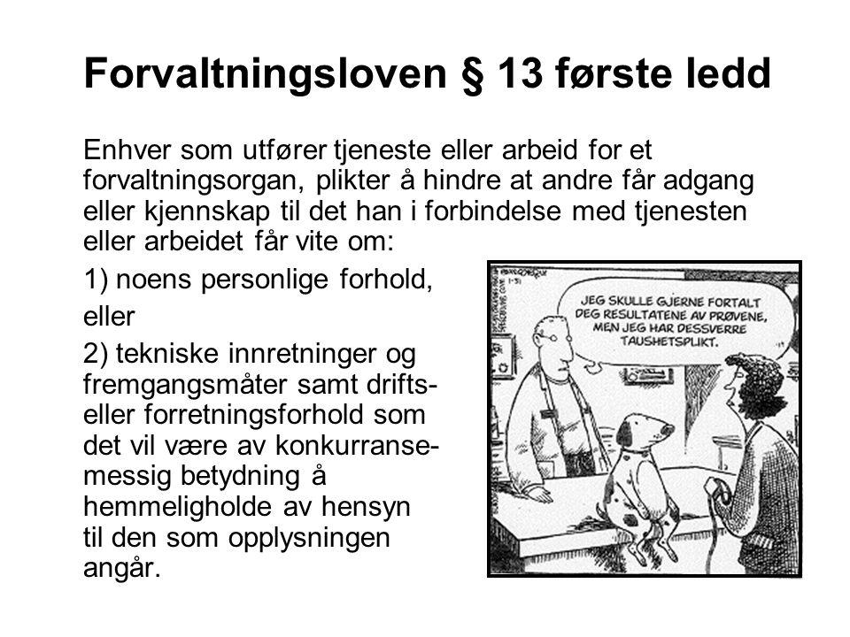 Forvaltningsloven § 13 første ledd