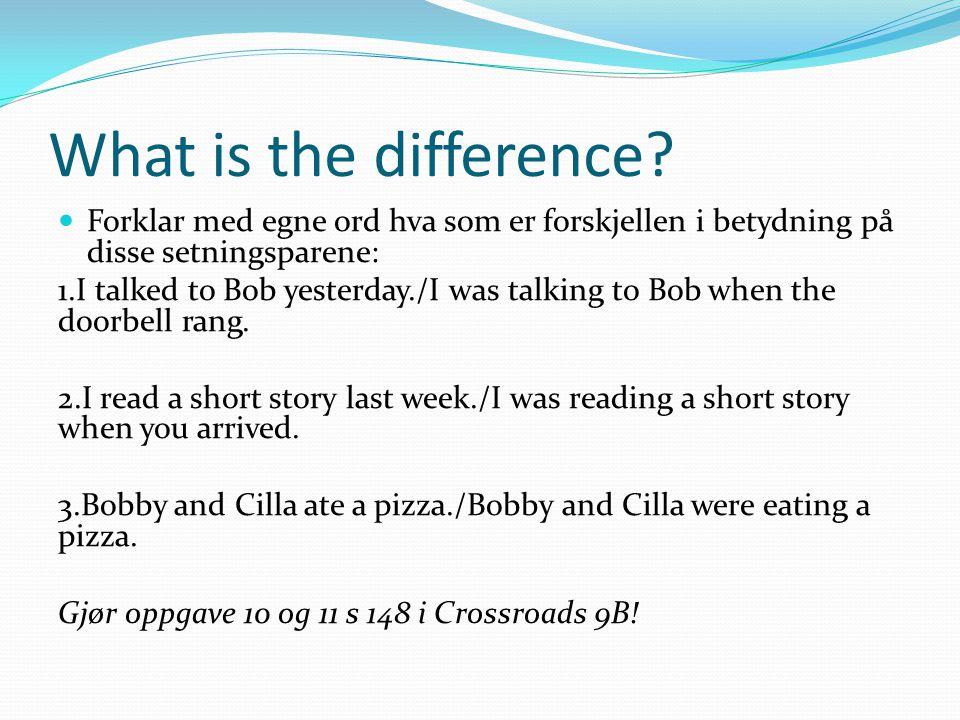 What is the difference Forklar med egne ord hva som er forskjellen i betydning på disse setningsparene: