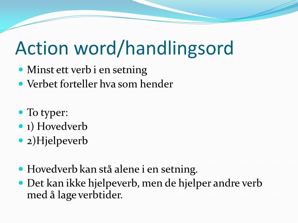 Action word/handlingsord