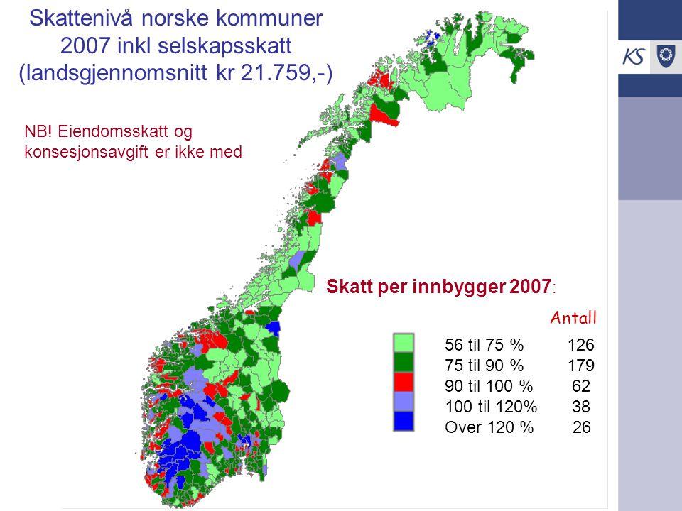 Skattenivå norske kommuner 2007 inkl selskapsskatt