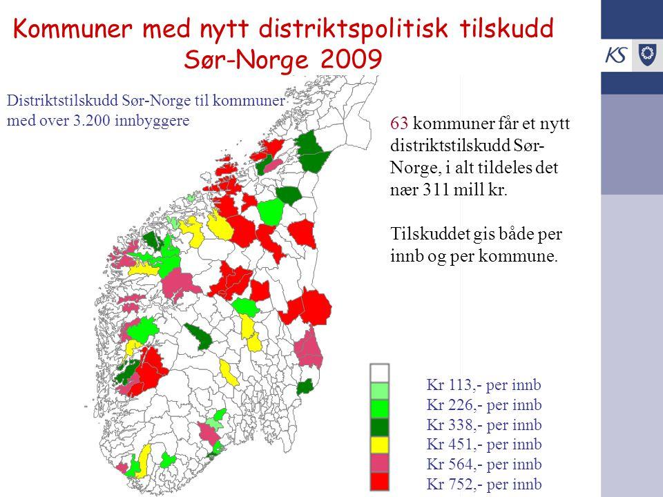 Kommuner med nytt distriktspolitisk tilskudd Sør-Norge 2009