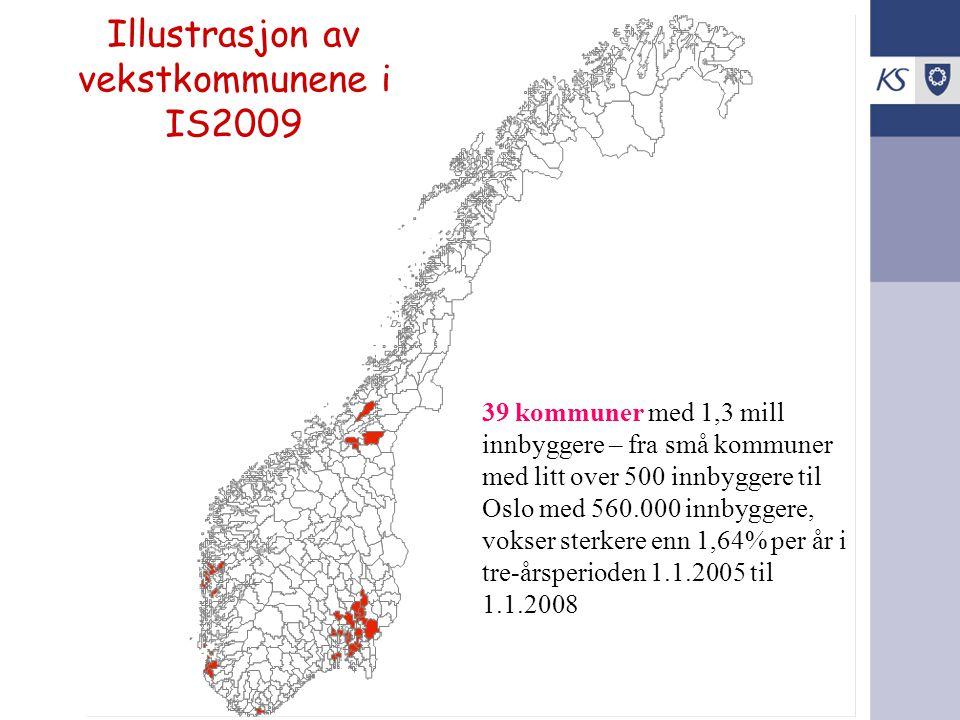 Illustrasjon av vekstkommunene i IS2009