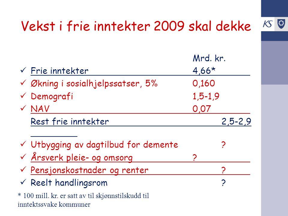 Vekst i frie inntekter 2009 skal dekke