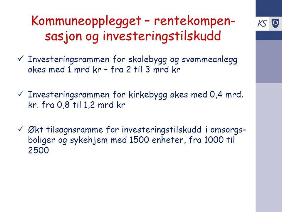 Kommuneopplegget – rentekompen-sasjon og investeringstilskudd