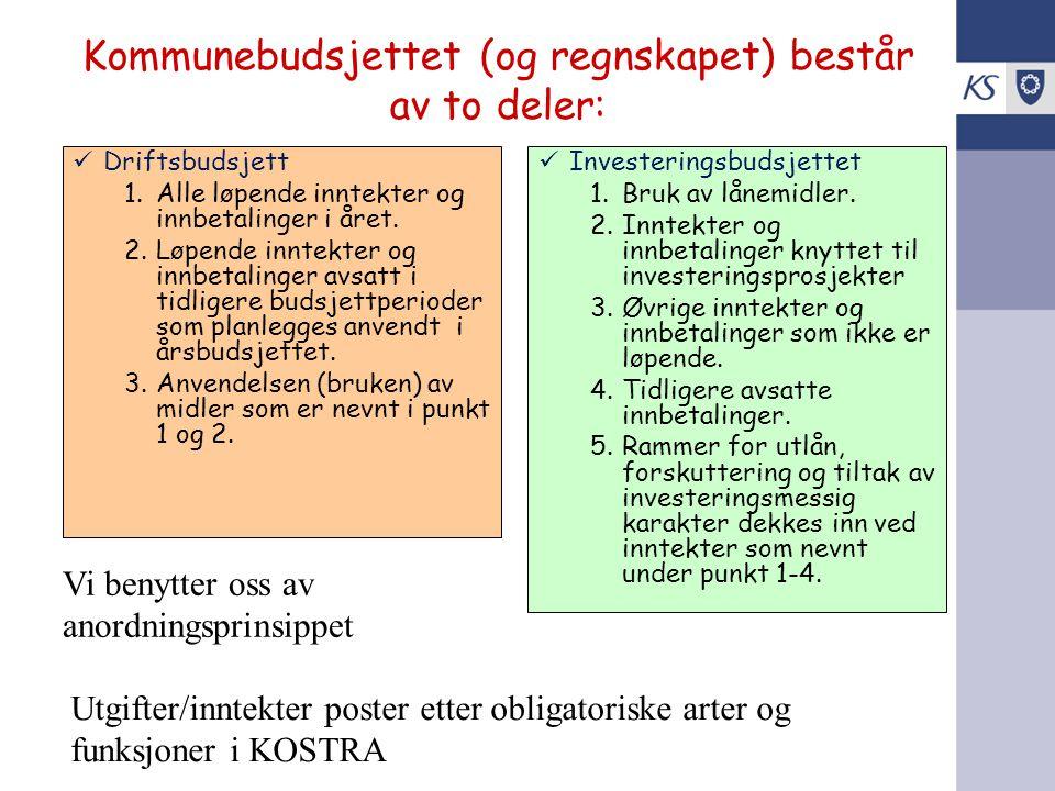 Kommunebudsjettet (og regnskapet) består av to deler: