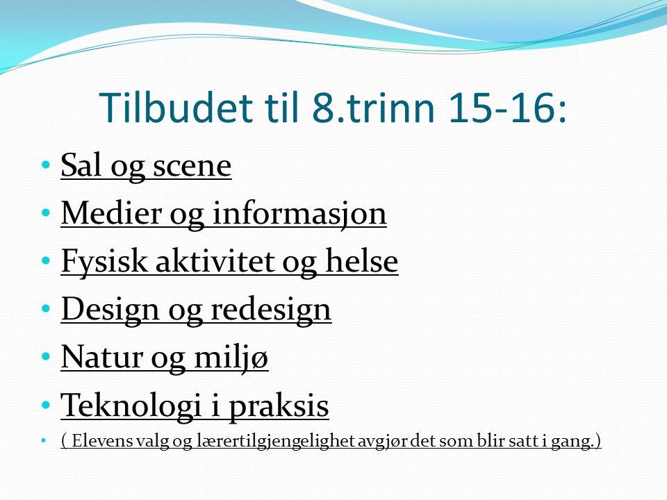 Tilbudet til 8.trinn 15-16: Sal og scene Medier og informasjon