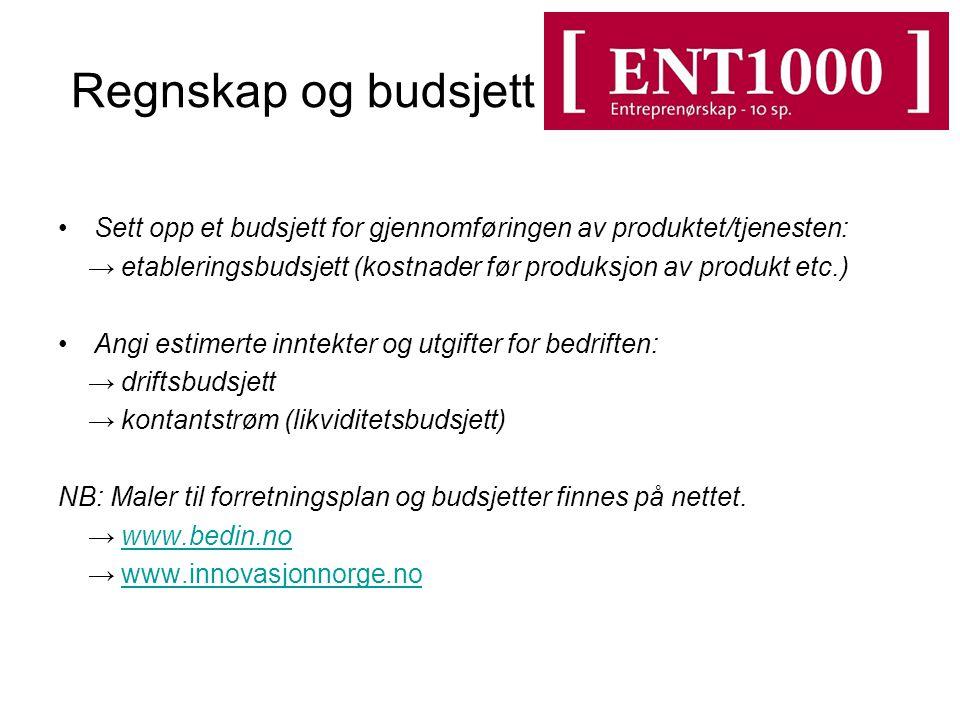 Regnskap og budsjett Sett opp et budsjett for gjennomføringen av produktet/tjenesten: