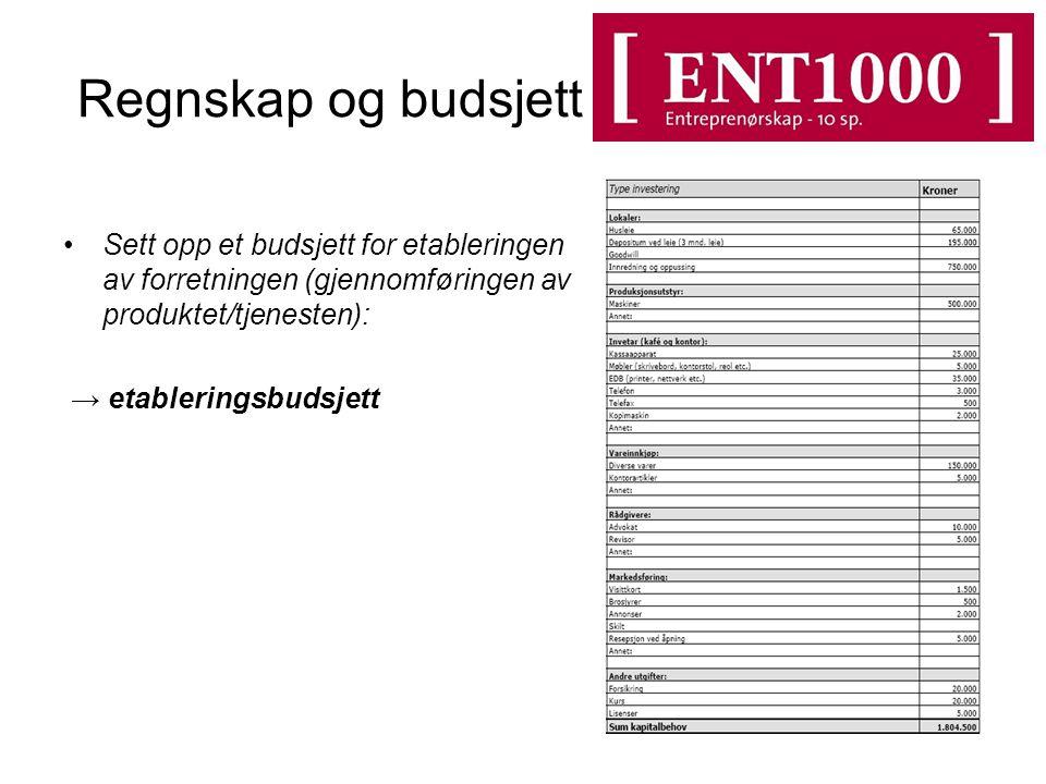 Regnskap og budsjett Sett opp et budsjett for etableringen av forretningen (gjennomføringen av produktet/tjenesten):