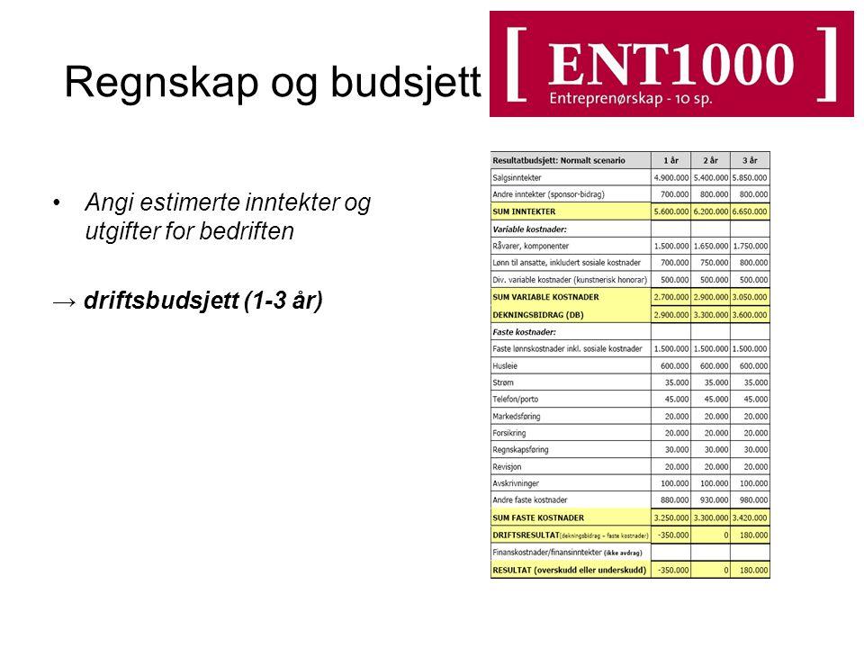 Regnskap og budsjett Angi estimerte inntekter og utgifter for bedriften → driftsbudsjett (1-3 år)
