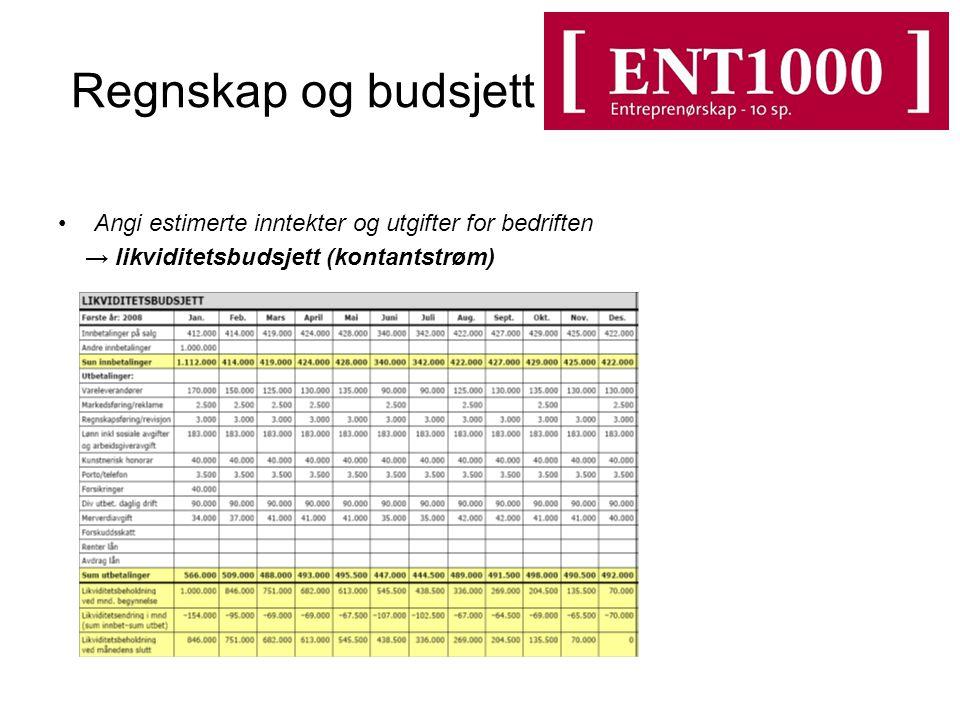Regnskap og budsjett Angi estimerte inntekter og utgifter for bedriften.