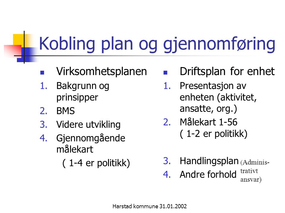 Kobling plan og gjennomføring