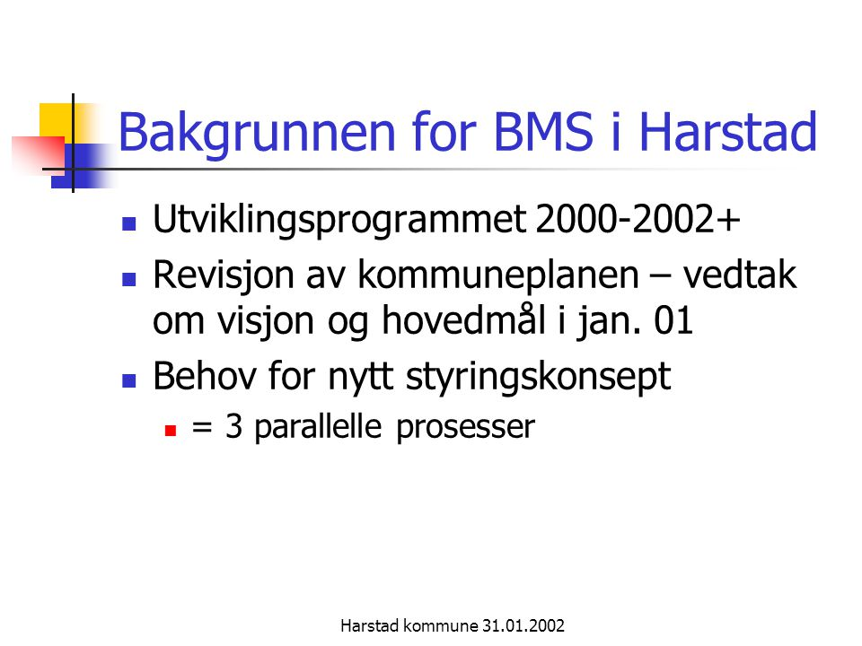 Bakgrunnen for BMS i Harstad