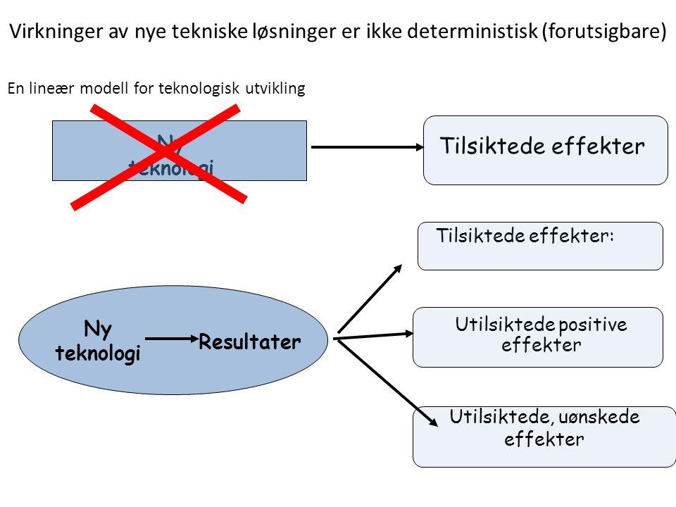 Virkninger av nye tekniske løsninger er ikke deterministisk (forutsigbare)