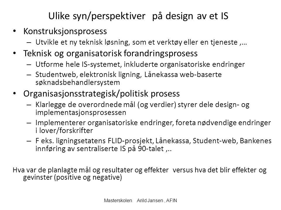 Ulike syn/perspektiver på design av et IS