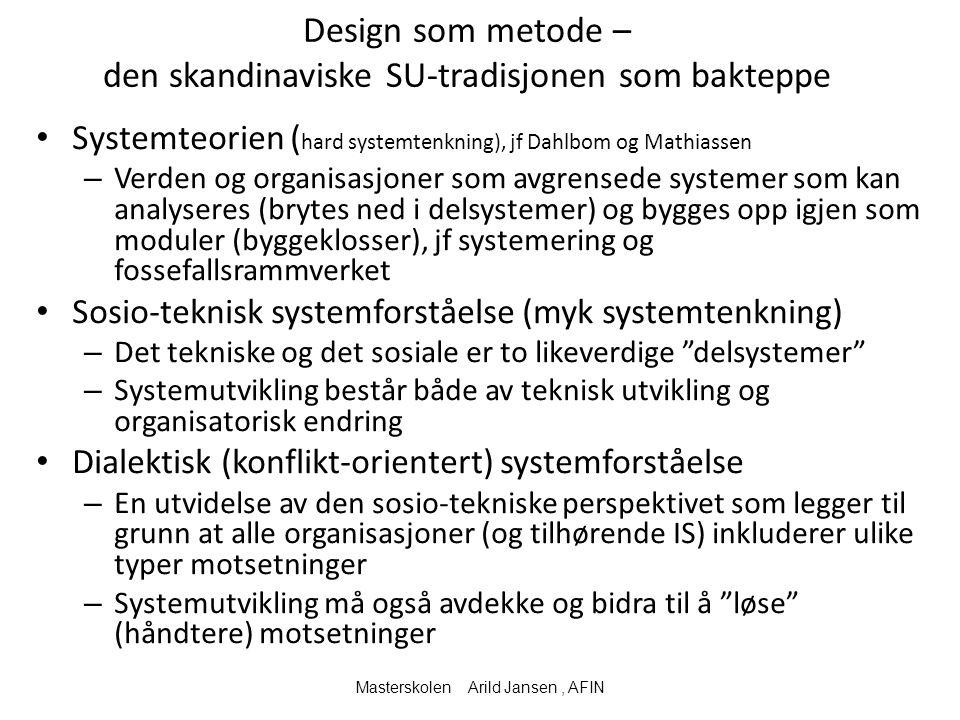 Design som metode – den skandinaviske SU-tradisjonen som bakteppe