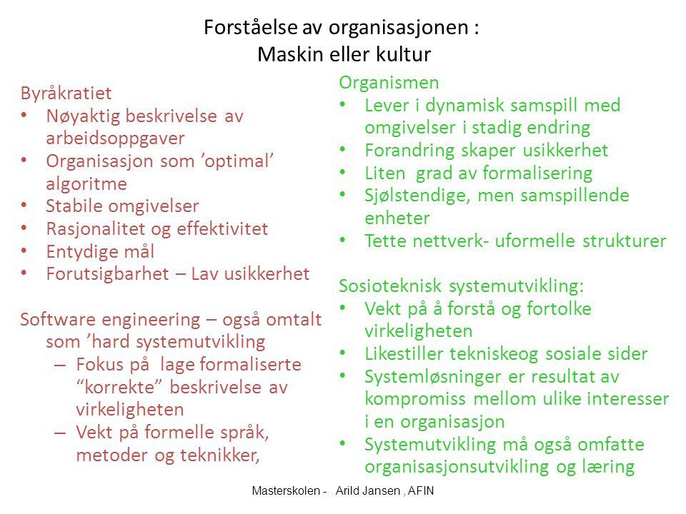 Forståelse av organisasjonen : Maskin eller kultur