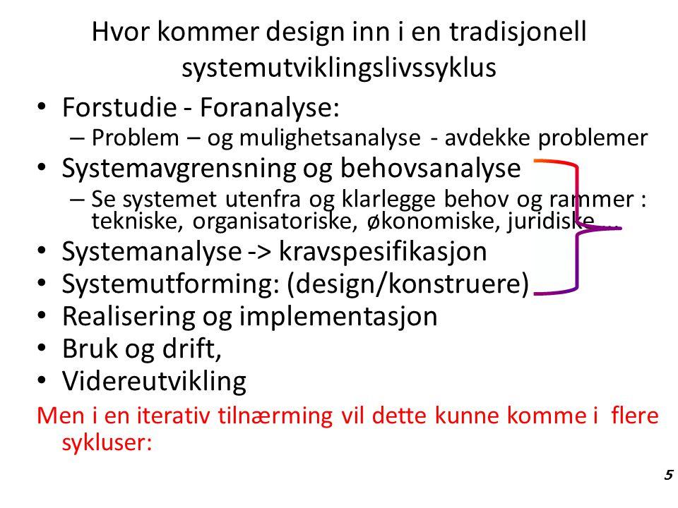 Hvor kommer design inn i en tradisjonell systemutviklingslivssyklus