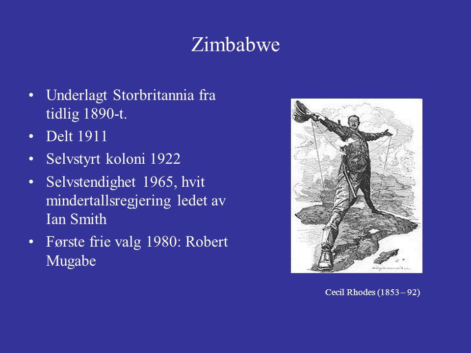 Zimbabwe Underlagt Storbritannia fra tidlig 1890-t. Delt 1911