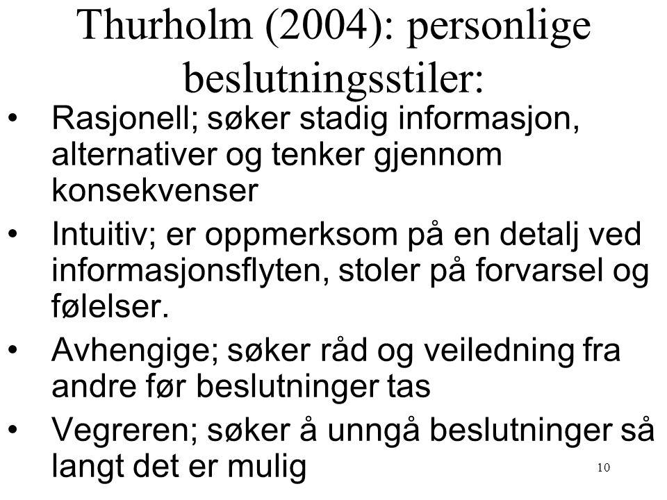 Thurholm (2004): personlige beslutningsstiler: