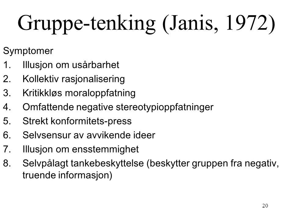 Gruppe-tenking (Janis, 1972)