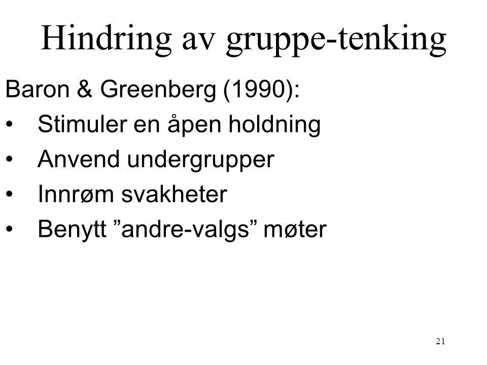 Hindring av gruppe-tenking