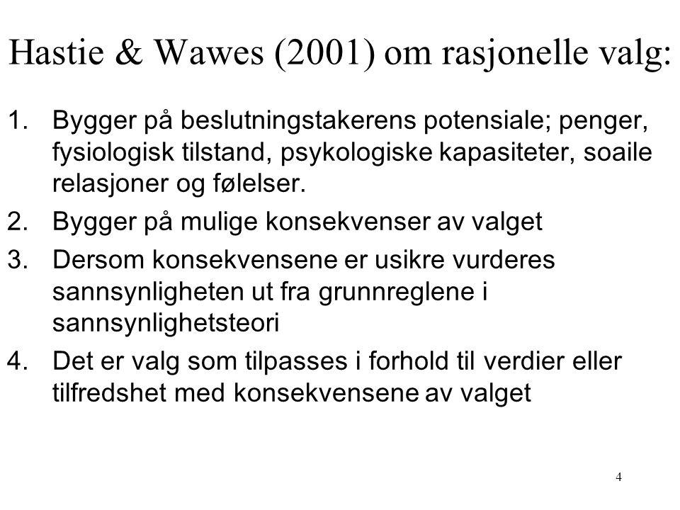 Hastie & Wawes (2001) om rasjonelle valg: