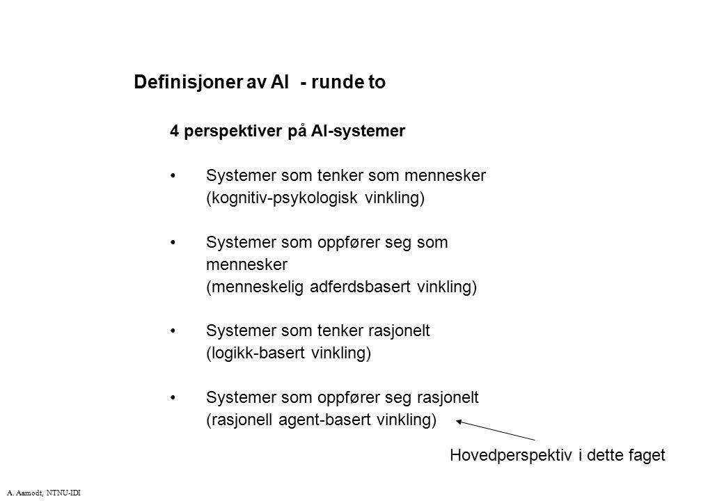 Definisjoner av AI - runde to