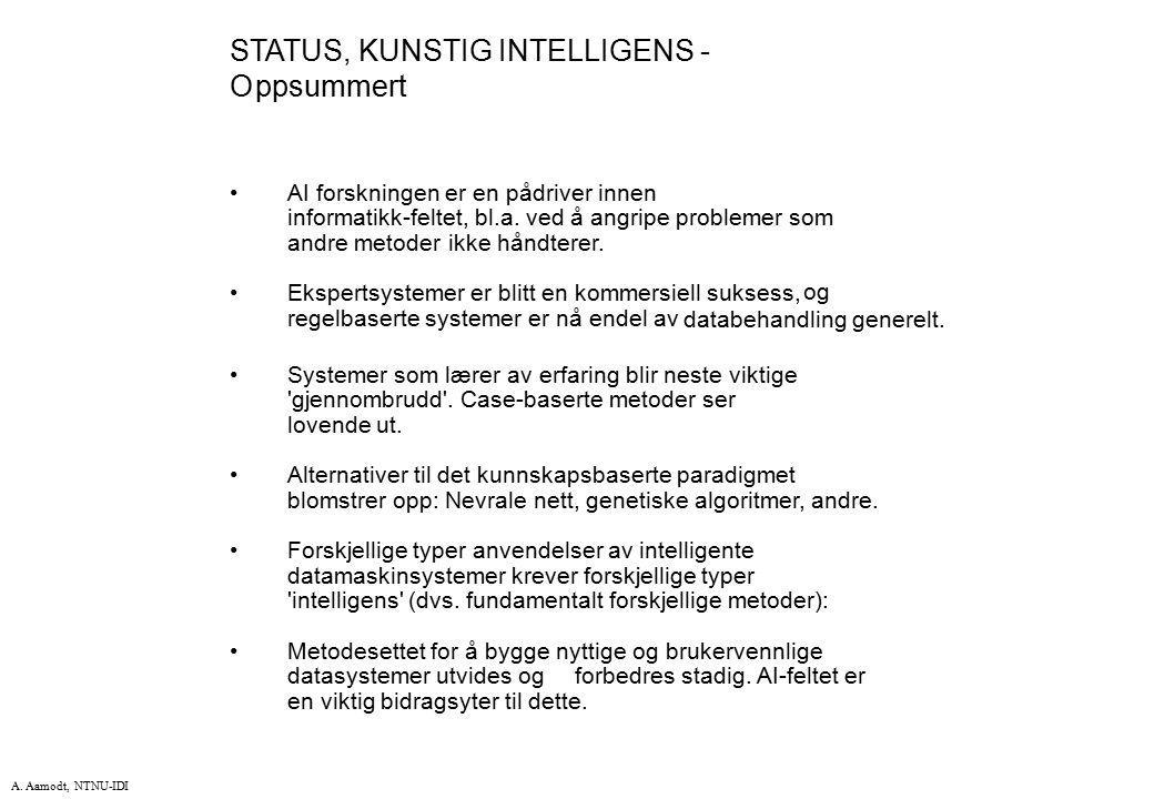 STATUS, KUNSTIG INTELLIGENS - O ppsummert