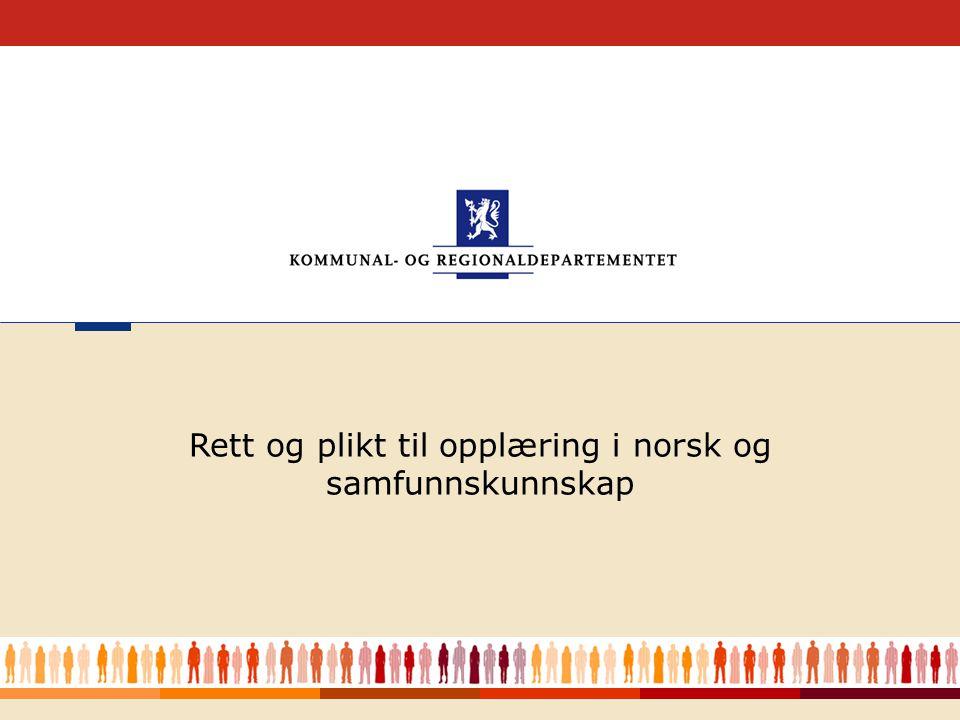 Rett og plikt til opplæring i norsk og samfunnskunnskap