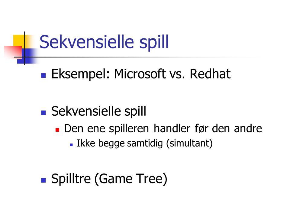 Sekvensielle spill Eksempel: Microsoft vs. Redhat Sekvensielle spill