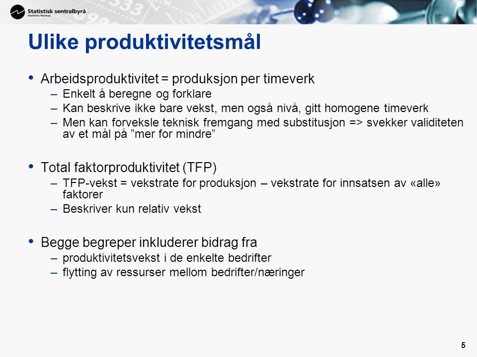 Ulike produktivitetsmål