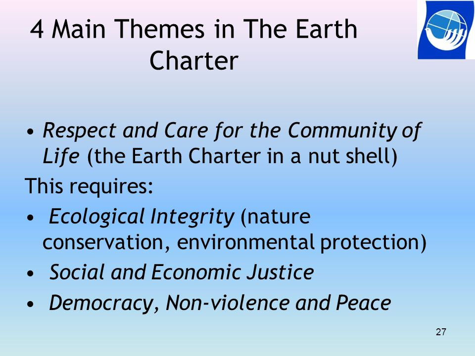 4 Main Themes in The Earth Charter