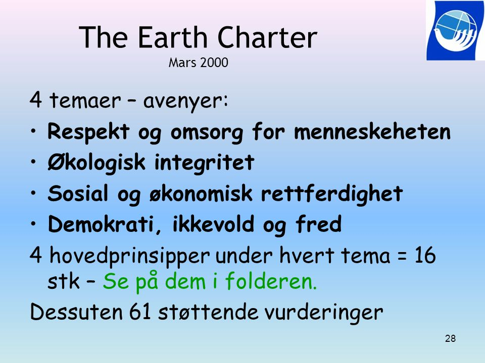 The Earth Charter Mars 2000 4 temaer – avenyer: