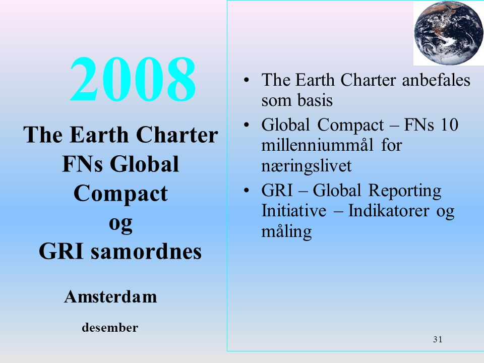 2008 The Earth Charter FNs Global Compact og GRI samordnes