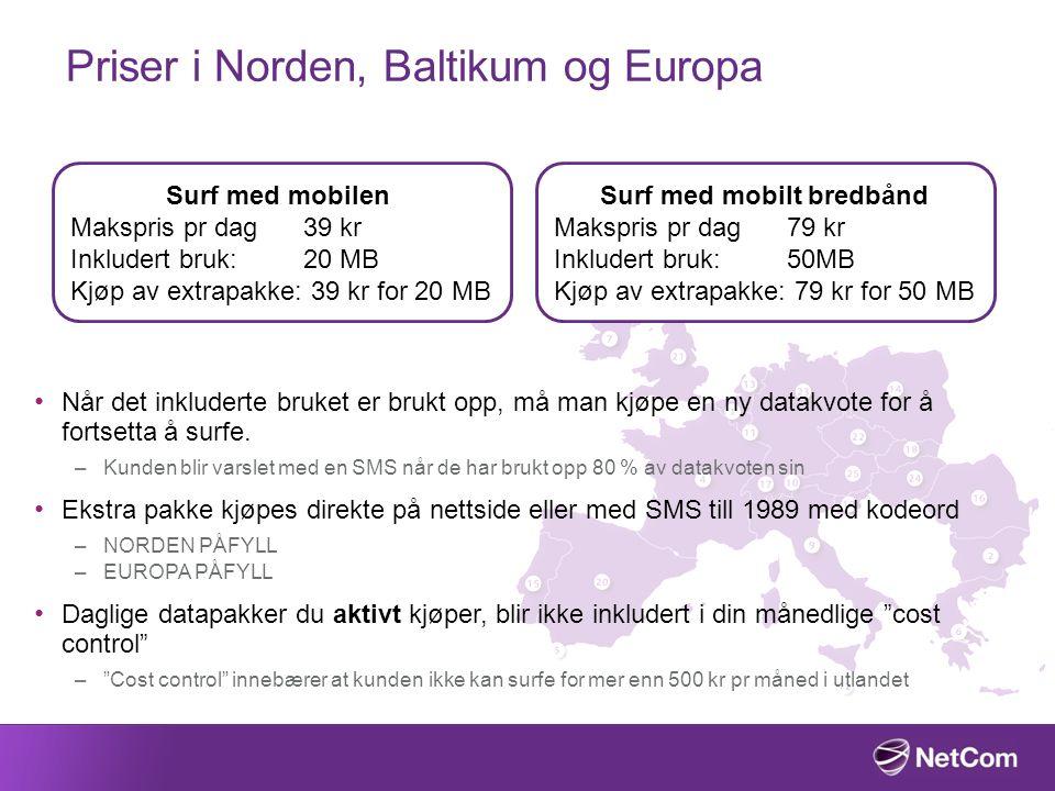 Priser i Norden, Baltikum og Europa