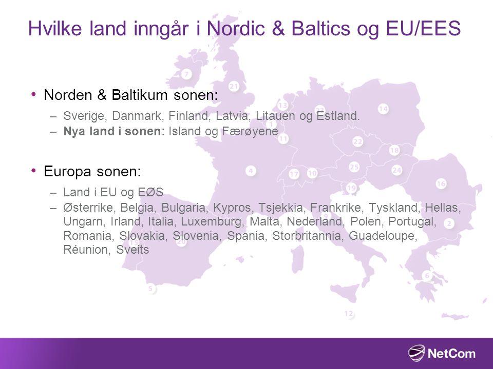 Hvilke land inngår i Nordic & Baltics og EU/EES