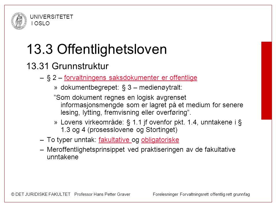 13.3 Offentlighetsloven 13.31 Grunnstruktur
