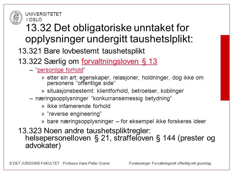 13.32 Det obligatoriske unntaket for opplysninger undergitt taushetslplikt: